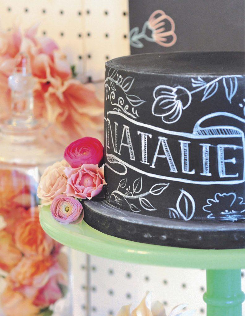 Floral Chalkboard Cake for a floral arranging party - get details now at fernandmaple.com!
