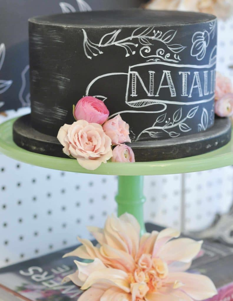 Floral Chalkboard Cake for a floral arranging party - get details now at fernandmaple.com!