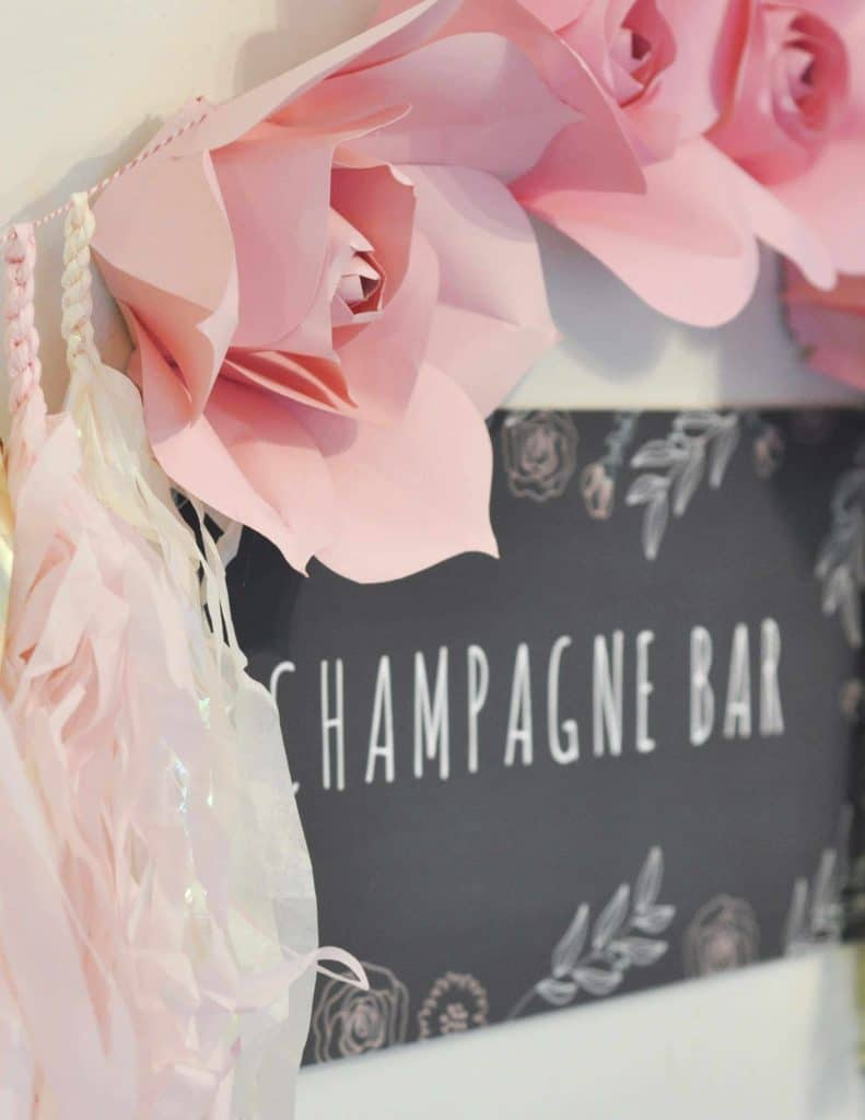 Champagne Bar Chalkboard Sign for a floral arranging party - get details now at fernandmaple.com!