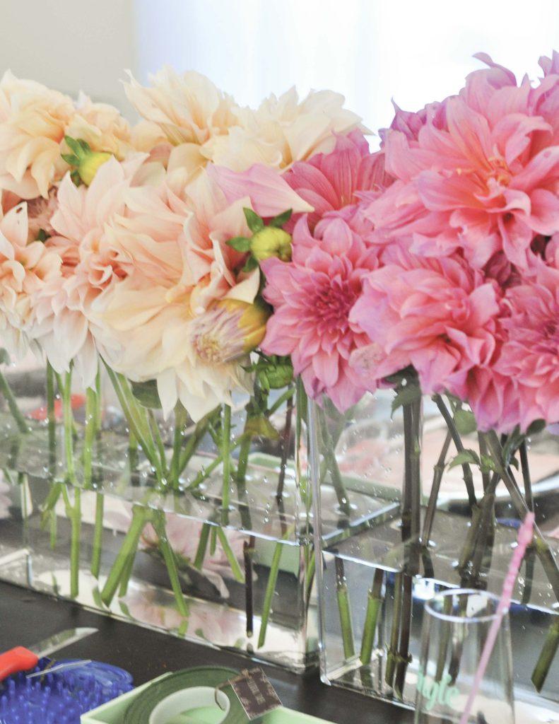 Floral centerpieces for a floral arranging party - get details now at fernandmaple.com!