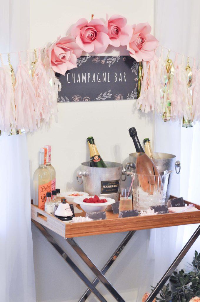 Champagne Bar for a floral arranging party - get details now at fernandmaple.com!