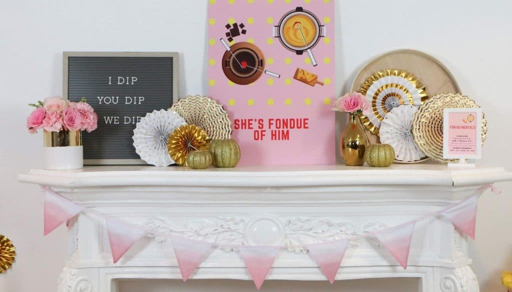 Mantle Decor & Printables for a Fun Fondue Party - get details at fernandmaple.com!
