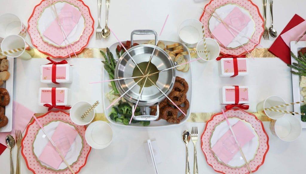 Dinner fondue setting for a Fun Fondue Party - get details at fernandmaple.com!