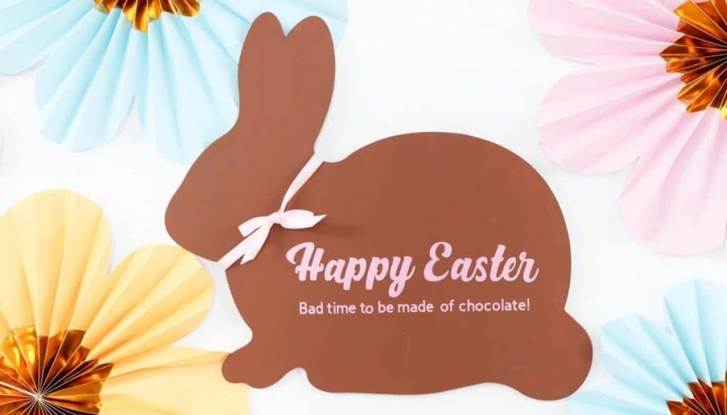 """DIY Funny Chocolate Bunny Easter Sign - """"Happy Easter...Bad time to be made of chocolate!"""" - get more Chocolate Bunny Easter Party inspiration now at fernandmaple.com!"""