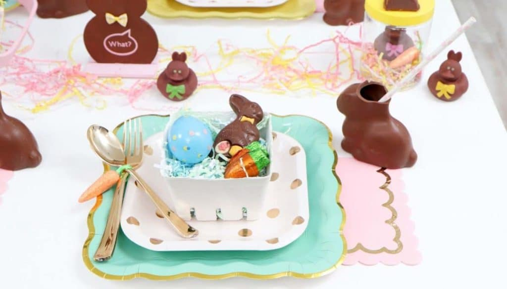 Chocolate Bunny Easter Party pastel place settings- get more Chocolate Bunny Easter Party inspiration now at fernandmaple.com!