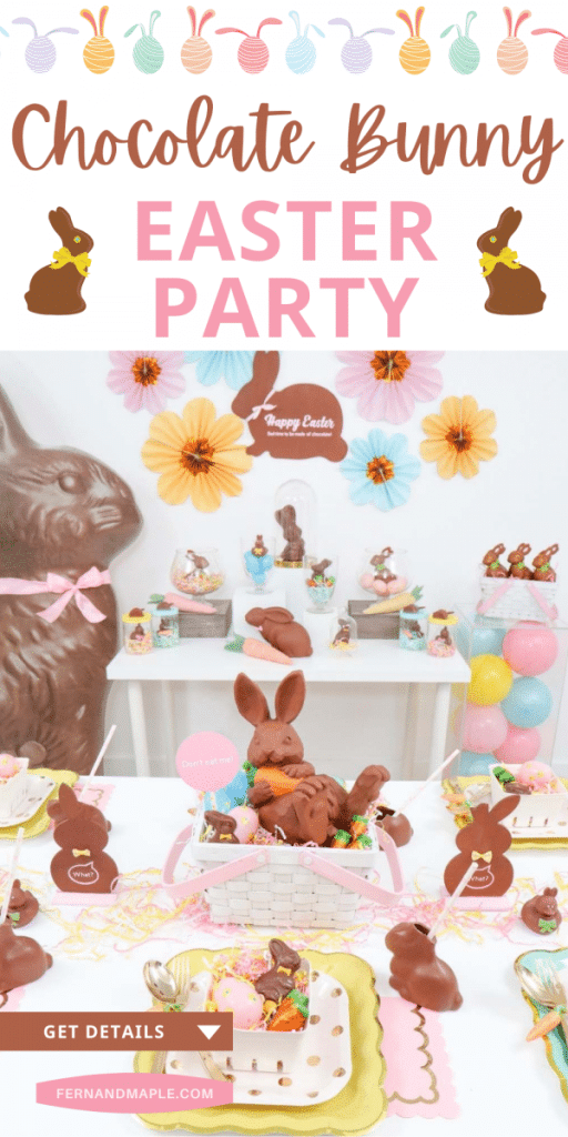 Hop to hosting a fun Easter party inspired by the yummy Easter treats - Chocolate Bunnies! With DIY Chocolate Bunny Party decor ideas and more. Get details now at fernandmaple.com!