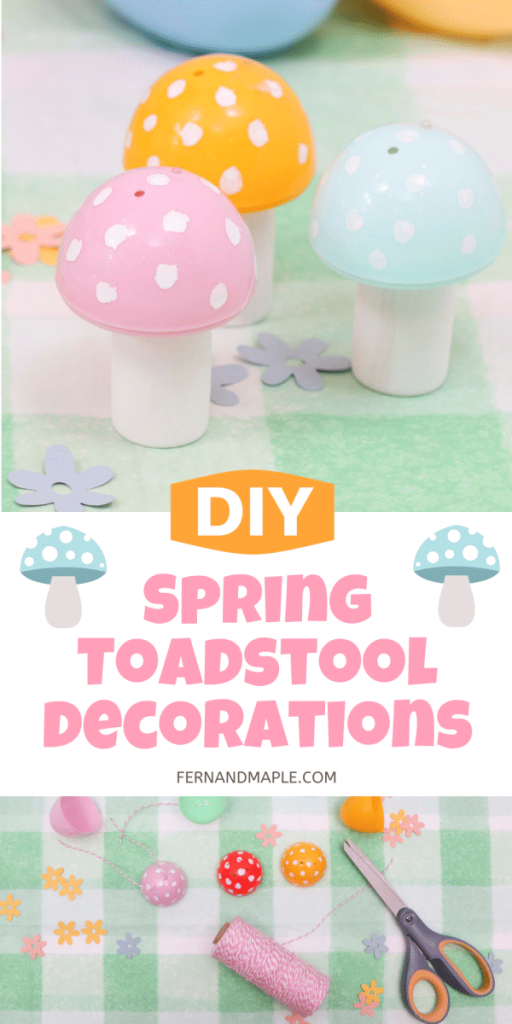 Create the cutest DIY Spring Toadstool ornaments, garland, or table decor with these easy step-by-step instructions! Perfect for a gnome-themed party. Get details at fernandmaple.com!