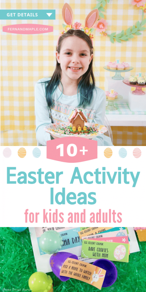 Tons of easy and affordable Easter Activity Ideas for kids and adults! Crafts, games, FREE printables - this list has it all! Plus - virtual activity ideas! Get all of the activity ideas now at fernandmaple.com.