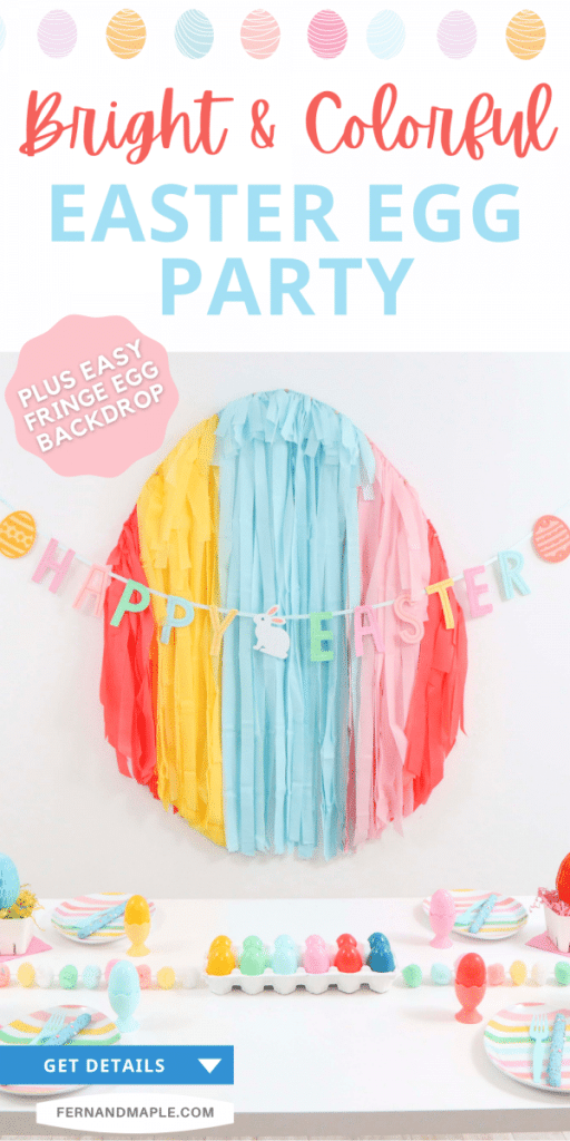 Create an easy and affordable Bright and Colorful Easter Egg-Themed Party with a DIY Fringe Party Backdrop and table setting ideas!