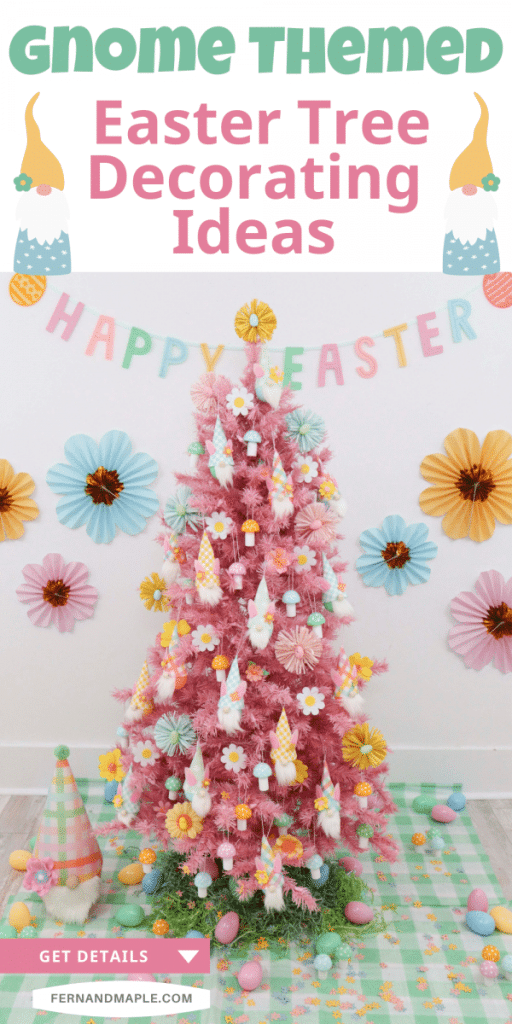 Decorate an adorable Gnome-Themed Easter tree this year with these fun ideas for backdrop, decor, and DIY gnome ornaments! Get details now at fernandmaple.com!