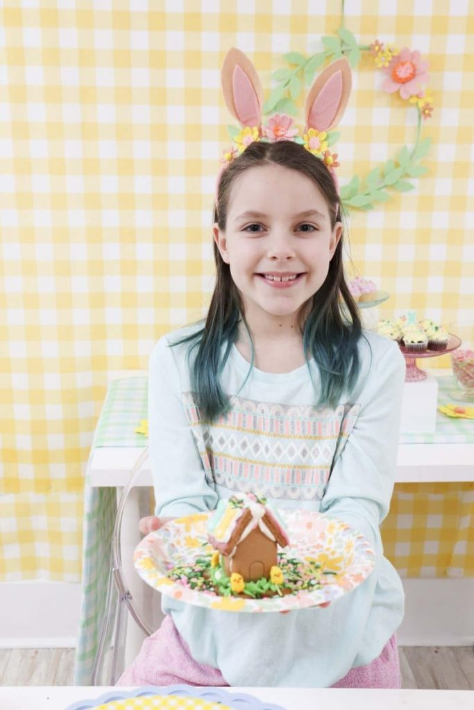 Decorated Gingerbread House from a Spring Gingerbread House decorating party - get more Spring Party inspiration now at fernandmaple.com!