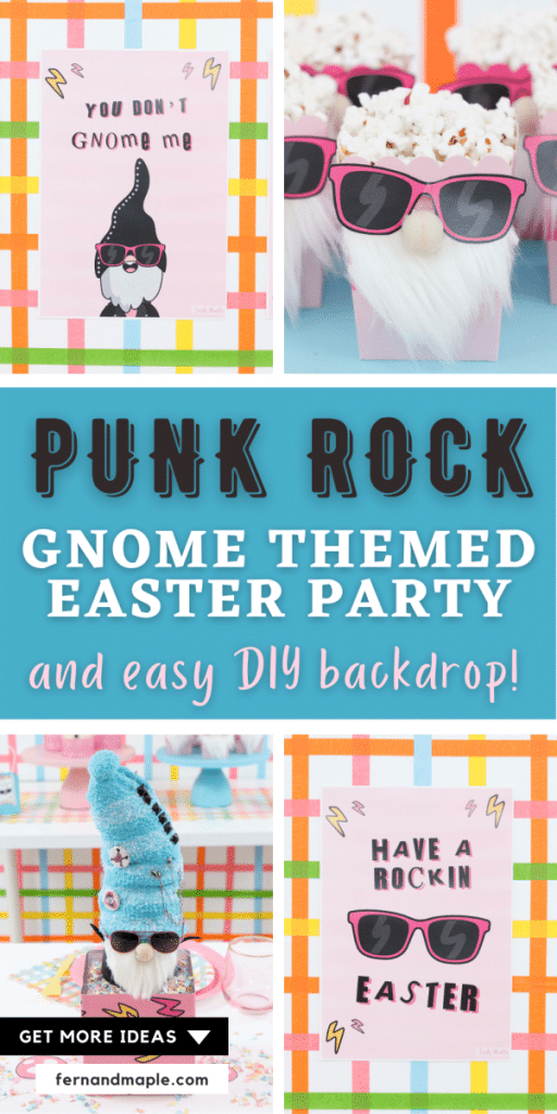 Embrace your rebellious side and throw a fun and silly Punk Rock Gnome themed Easter Party! With ideas for easy DIY backdrop, decor, table settings & more! Get details now at fernandmaple.com.