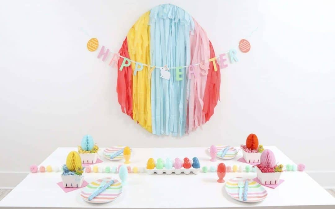 Bright and Colorful Easter Egg-Themed Party & DIY Fringe Easter Egg Backdrop