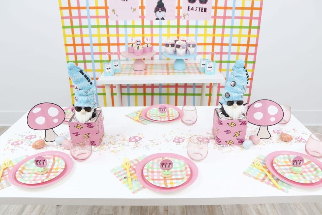 Punk Rock Gnome Easter Table Setting - get more party ideas at fernandmaple.com!
