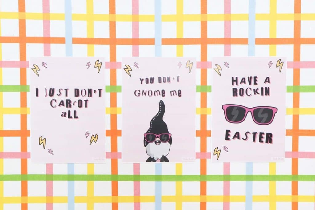 Punny signs on a DIY backdrop for a Punk Rock Gnome Easter Party - get more party ideas at fernandmaple.com!