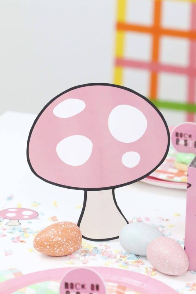 Punk Rock Gnome Easter Toadstool, Easter Egg and Confetti Table Decor - get more party ideas at fernandmaple.com!