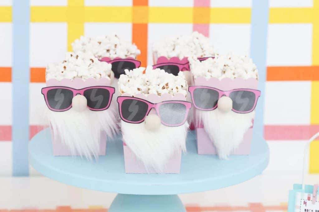 Punk Rock Gnome Easter DIY Gnome Popcorn boxes- get more party ideas at fernandmaple.com!