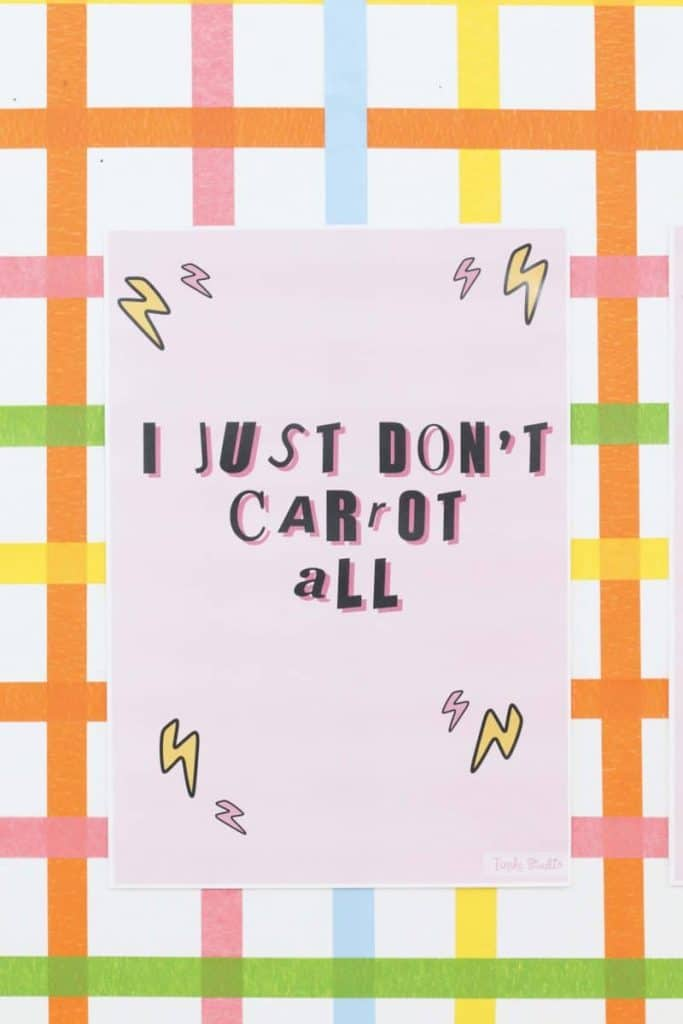"""""""I just don't carrot all"""" sign for a Punk Rock Gnome Easter Party - get more party ideas at fernandmaple.com!"""