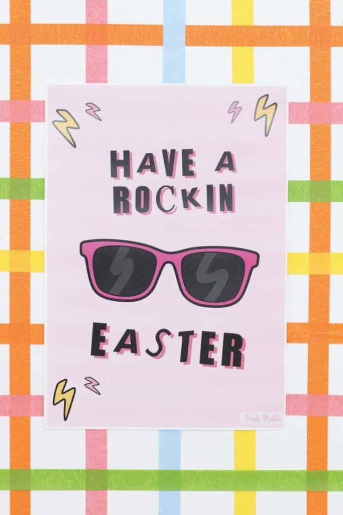 """""""Have a Rockin Easter"""" sign for a Punk Rock Gnome Easter Party - get more party ideas at fernandmaple.com!"""