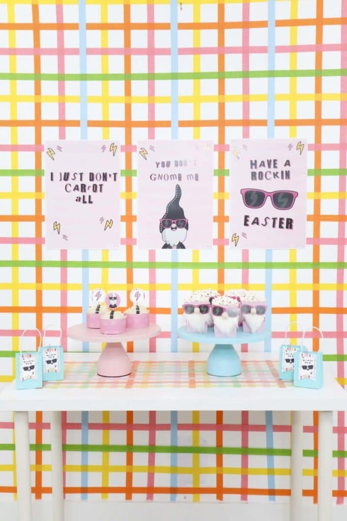 Punk Rock Gnome Easter Snack and Dessert Table with DIY backdrop - get more party ideas at fernandmaple.com!