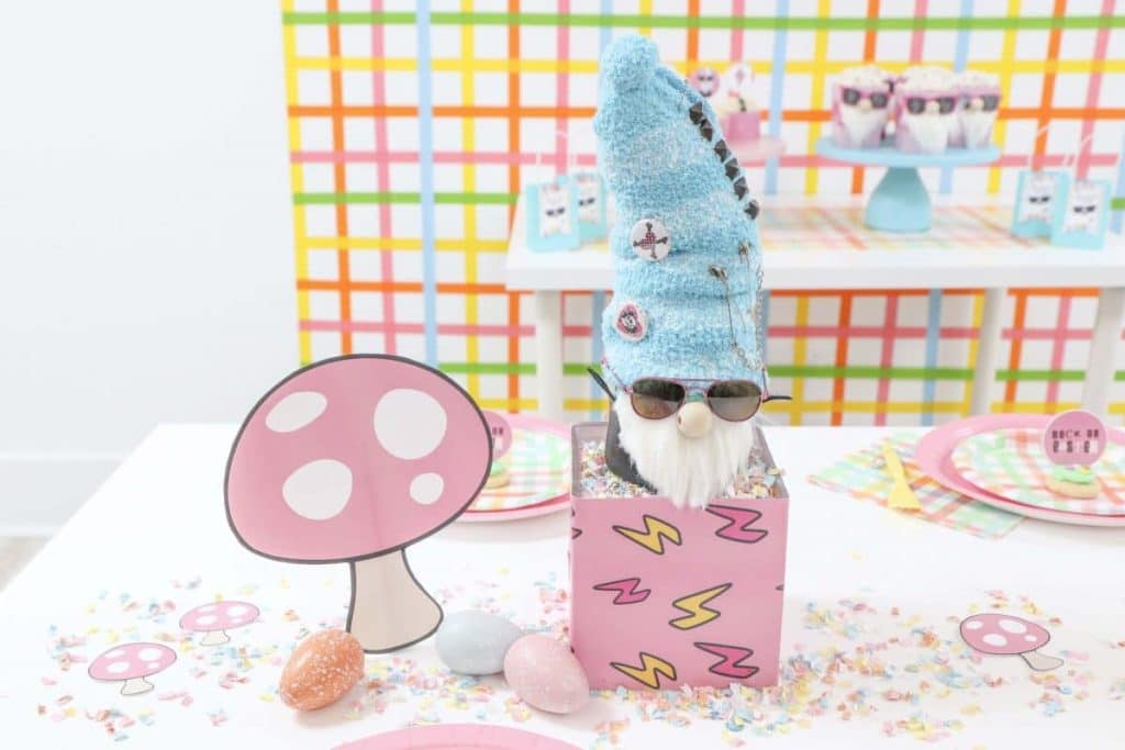 Punk Rock Gnome and Toadstool Easter Table DIY Centerpiece - get more party ideas at fernandmaple.com!