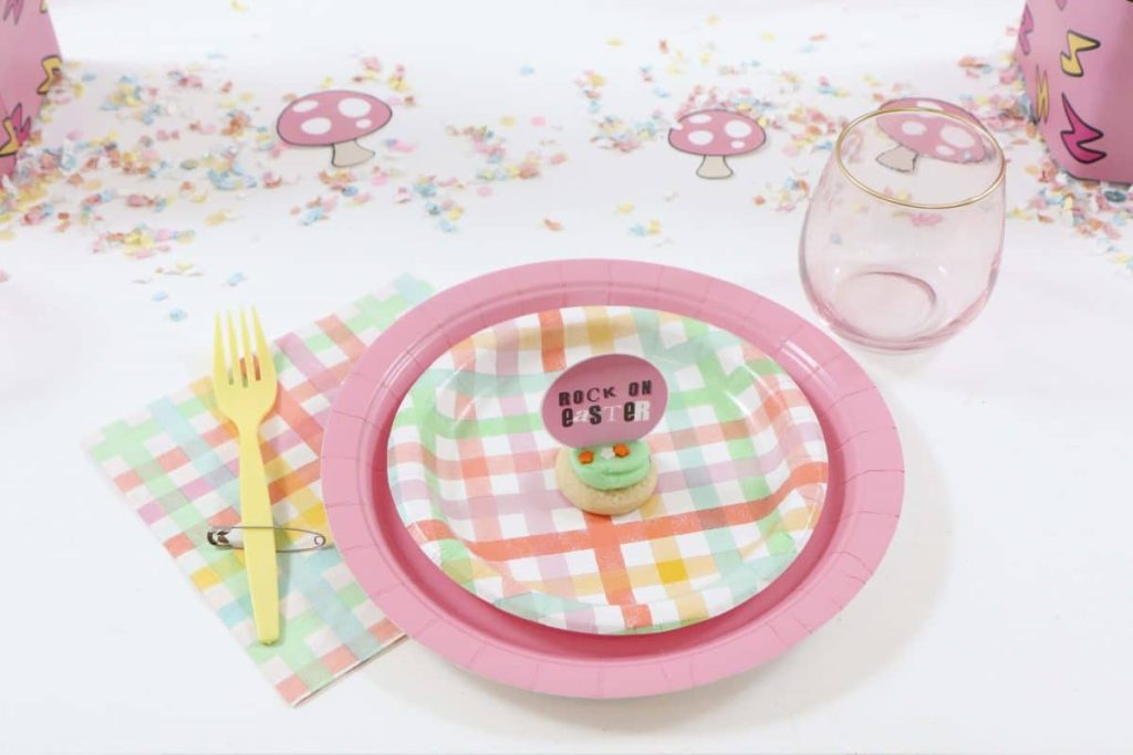 Punk Rock Gnome Easter Place Setting - get more party ideas at fernandmaple.com!