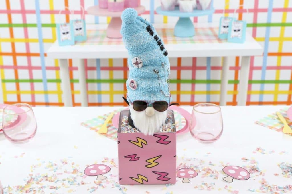 Punk Rock Gnome Easter Table DIY Centerpiece - get more party ideas at fernandmaple.com!