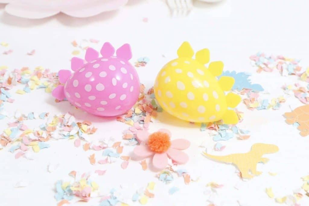 DIY Pastel Spring Dinosaur Confetti and Easter Eggs - get more Spring Dinosaur Party inspiration at fernandmaple.com!