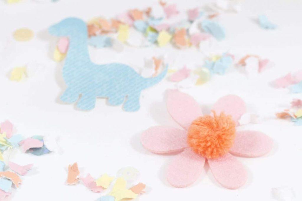 DIY Pastel Spring Dinosaur Confetti - get more Spring Dinosaur Party inspiration at fernandmaple.com!