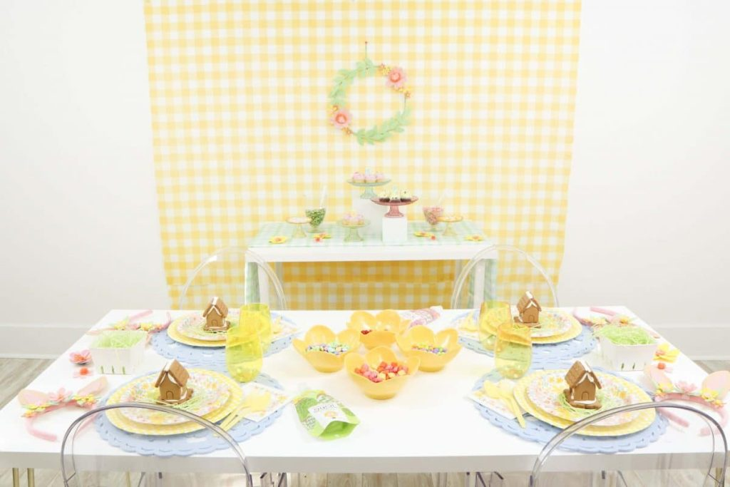 Spring Gingerbread House Decorating Party Setup. Get more details at fernandmaple.com!