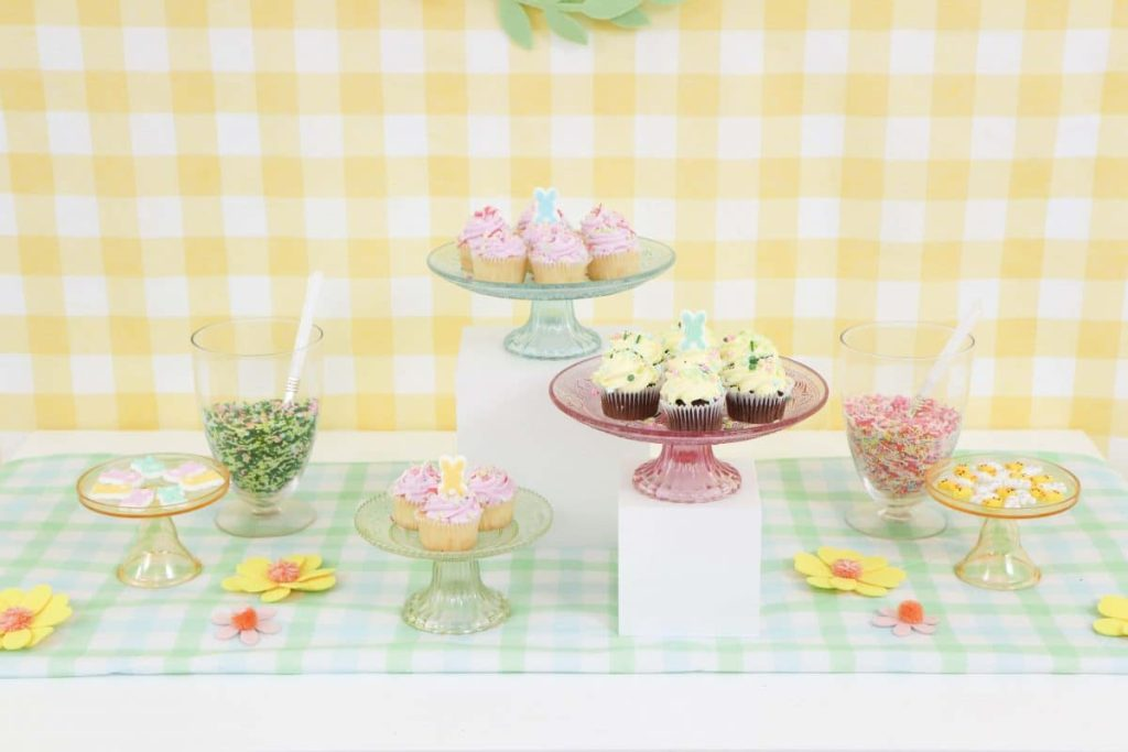 Spring desserts on a variety of pastel stands - get more Spring Party inspiration now at fernandmaple.com!