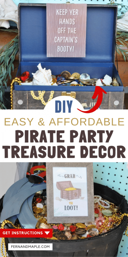 This quick and affordable DIY Pirate Party treasure decor gives the illusion that they are full with coins, gems and jewelry! Get the step-by-step instructions now at fernandmaple.com!