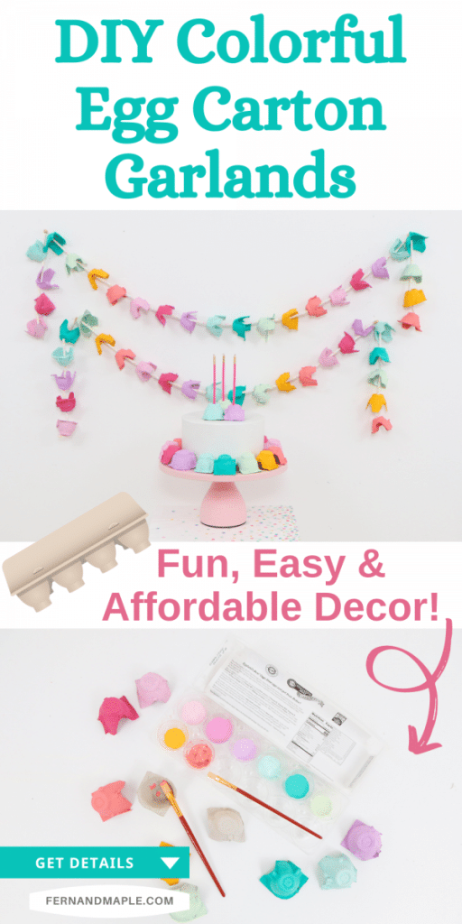 Step-by-step instructions for how to upcycle egg cartons into colorful DIY party garlands with just a few affordable supplies! Get details now at fernandmaple.com!