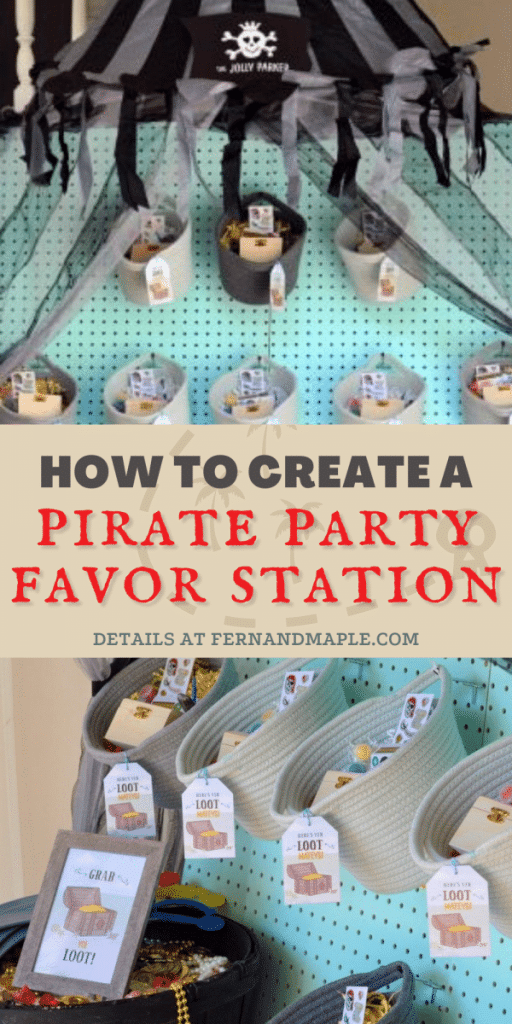 """Create a DIY """"Treasure Cove"""" Favor Station filled with loot for the perfect Pirate-themed Party for kids with step-by-step instructions! Get details and more Pirate Party inspiration now at fernandmaple.com."""