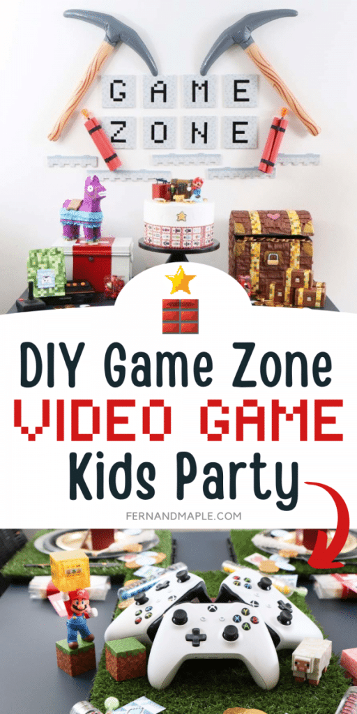 Create a Game Zone inspired by all of your kids' favorite video games for this fun DIY Video Game Birthday Party with FREE printables! With ideas for DIY Favors, Backdrop, Table Setting and more. Get details now at fernandmaple.com.
